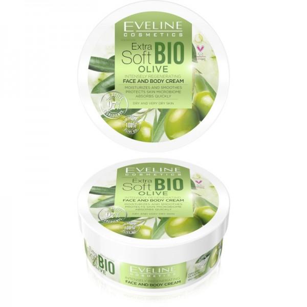 Eveline Cosmetics - Gesichts- und Körpercreme - Extra Soft Bio Olive intensiv regenerierende Creme -