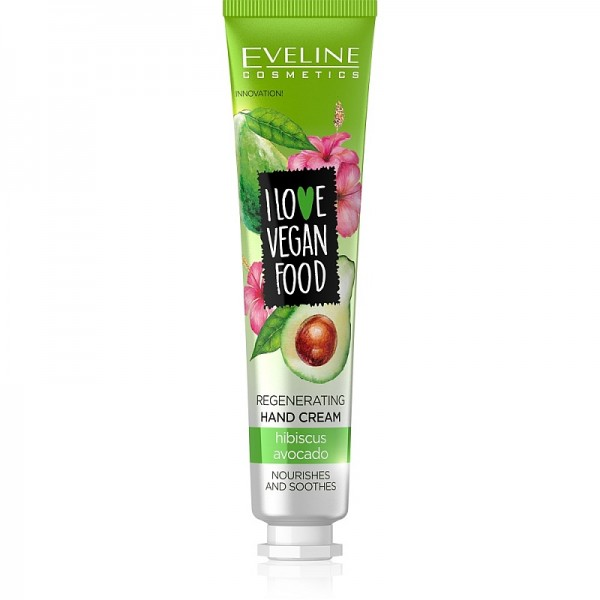 Eveline Cosmetics - Handcreme - I Love Vegan Food regenerierende Handcreme mit Avocado+Hibiskus