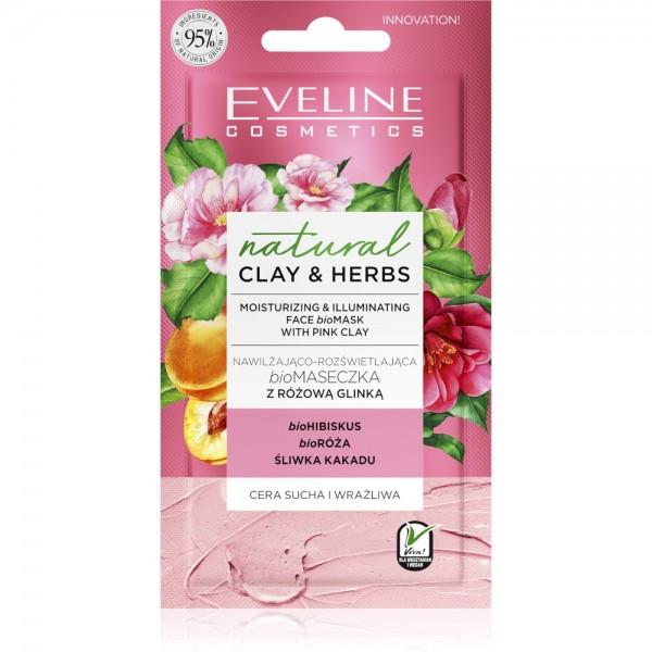 Eveline Cosmetics - Gesichtsmaske - Natural Clay & Herbs Moisturizing & Illuminating Face Bio Mask