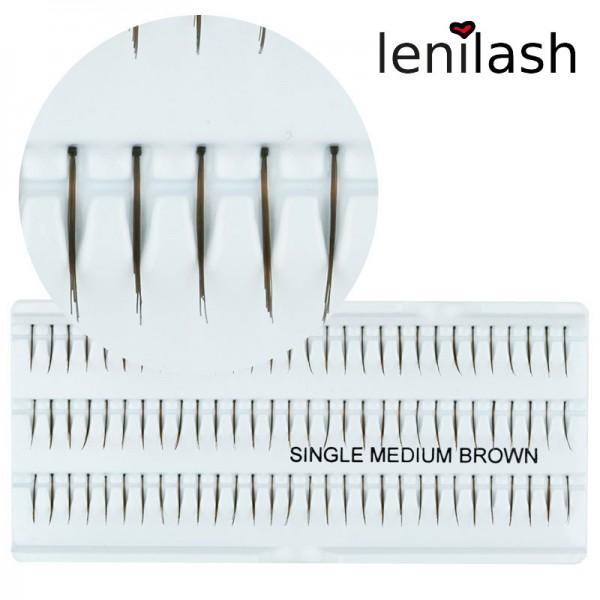lenilash - Einzelwimpern single medium brown ca. 12mm in braun