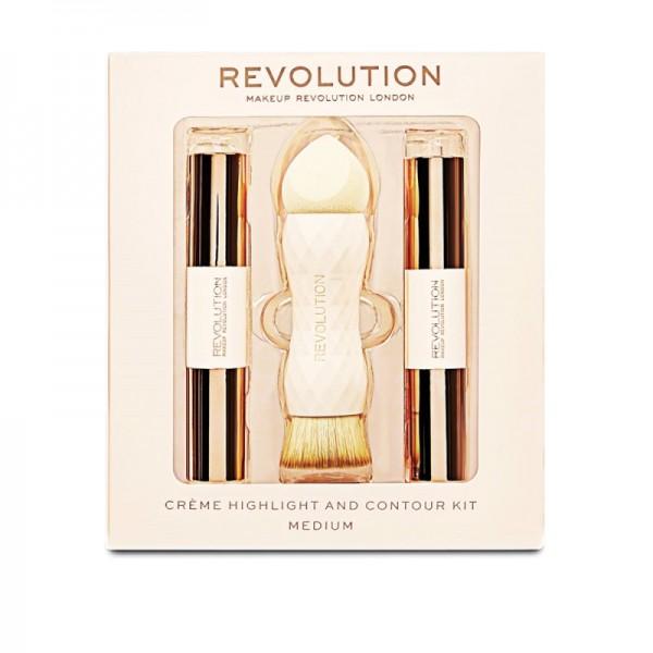 Makeup Revolution - Makeup Set - Creme Highlight and Contour Kit - Medium