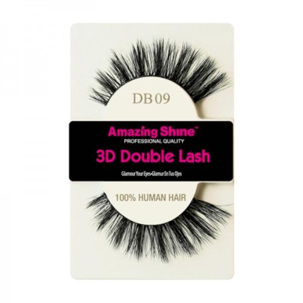 Amazing Shine - Falsche Wimpern - 3D Double Lash - DB09 - Echthaar