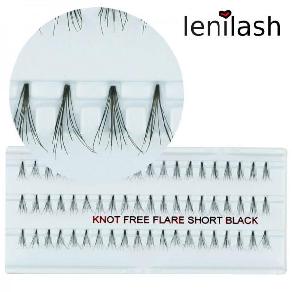 lenilash - knot-free Single Lashes flare short black ca 10 mm