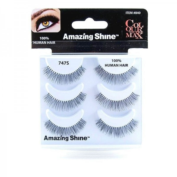 Amazing Shine - Falsche Wimpern - Colour to the Max - Nr. 747S - Echthaar - 3Pack