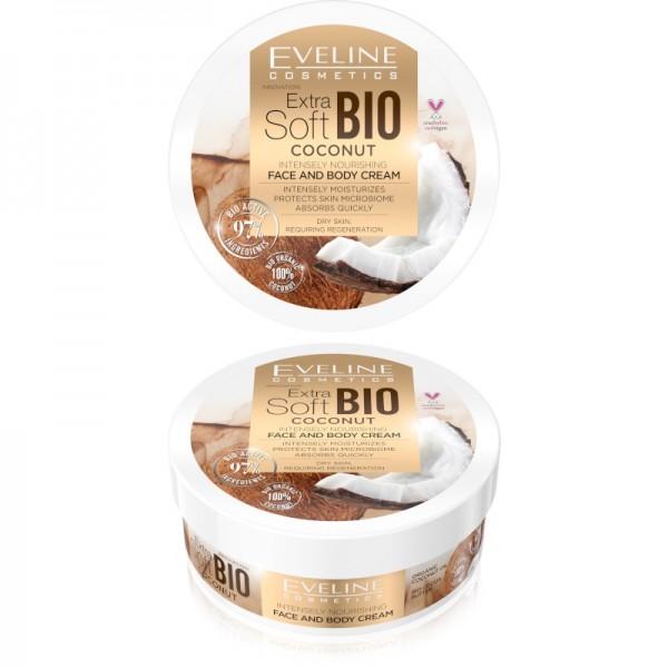Eveline Cosmetics - Gesichts- und Körpercreme - Extra Soft Bio Kokosnuss intensiv feuchtigkeitsspend