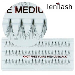 lenilash - Knotenfreie Einzelwimpern  flare medium black ca. 12 mm