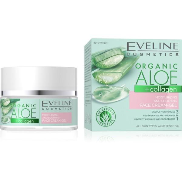 Eveline Cosmetics - Organic Aloe + Collagen Moisturizing & Soothing Face Cream-Gel