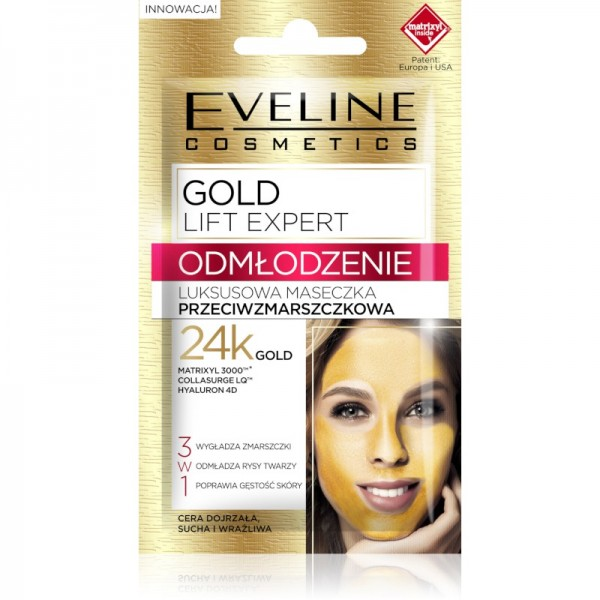 Eveline Cosmetics - Gesichtsmaske - Gold Lift Expert Rejuvenation Luxuriöse Anti-Falten-Maske
