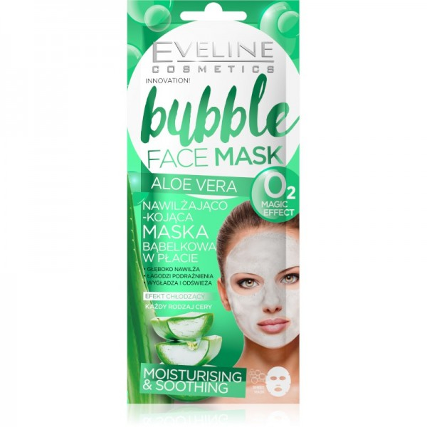Eveline Cosmetics - Gesichtmaske - Bubble Face Sheet Mask Moisturising & Soothing Aloe Vera