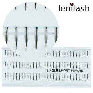 lenilash - Einzelwimpern single short brown ca. 10mm in braun