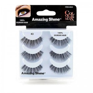 Amazing Shine - Falsche Wimpern - Colour to the Max - Nr. 43 - Echthaar - 3Pack