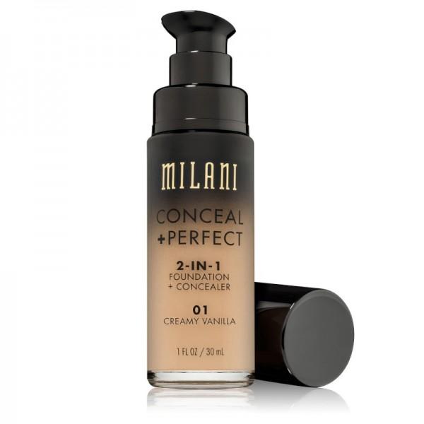 Milani - Foundation + Concealer - 2 in 1 - Conceal + Perfect - Creamy Vanilla - 01