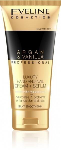 Eveline Cosmetics - Handcreme - Argan & Vanilla Professional Luxury Hand- und Nagelcreme+ Serum