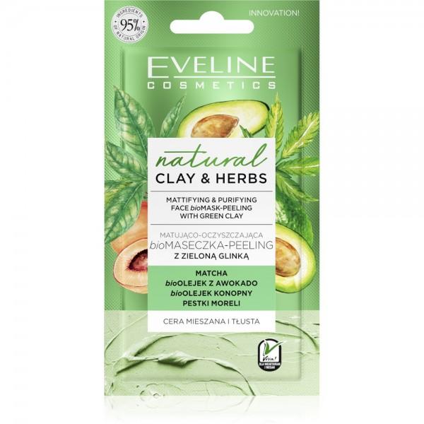Eveline Cosmetics - Gesichtsmaske - Natural Clay & Herbs Mattifying & Purifying Face Bio Mask-Peelin
