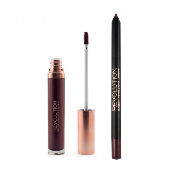 Makeup Revolution - Flüssiger Lippenstift - Retro Luxe - Metallic Lip Kit - Worth It