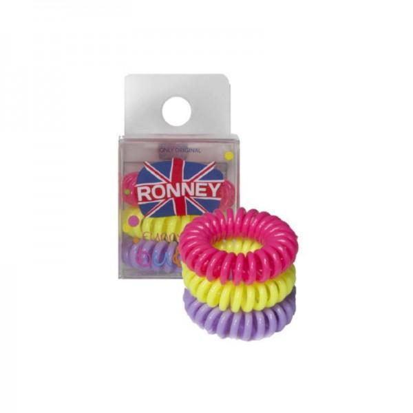 Ronney Professional - Haargummis - Funny Ring Bubble - Neon Pink, Gelb, Lavendel - 3 Stk