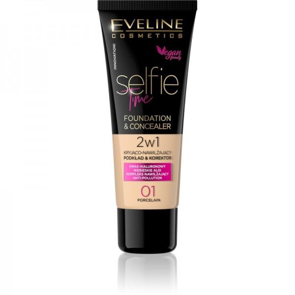 Eveline Cosmetics - Selfie Time Foundation & Concealer 01 - Porcelain