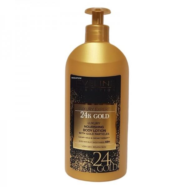 Eveline Cosmetics - Bodylotion - Luxury Expert 24K Gold Nährende Körpermilch mit Goldpartikeln