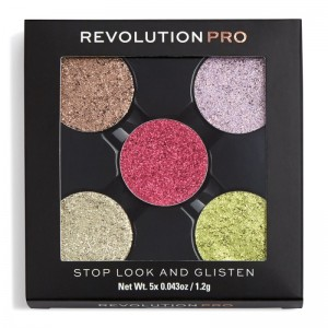 Revolution Pro - Refill Pressed Glitter Eyeshadow Pack - Stop Look and Glisten