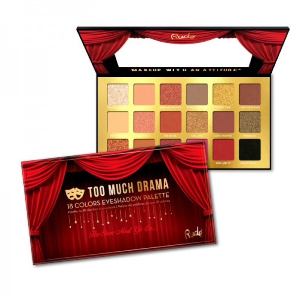 RUDE Cosmetics - Lidschattenpalette - 18 Colors Eyeshadow Palette - Too Much Drama