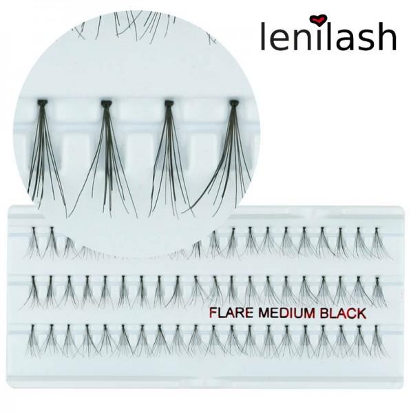 lenilash - Einzelwimpern Flare medium black ca. 12mm in schwarz