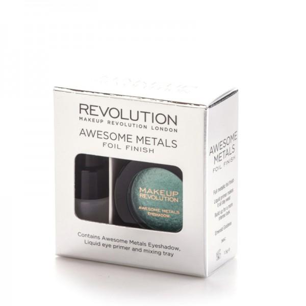Makeup Revolution - Mono Lidschatten - Awesome Metals Eye Foils - Emerald Goddess