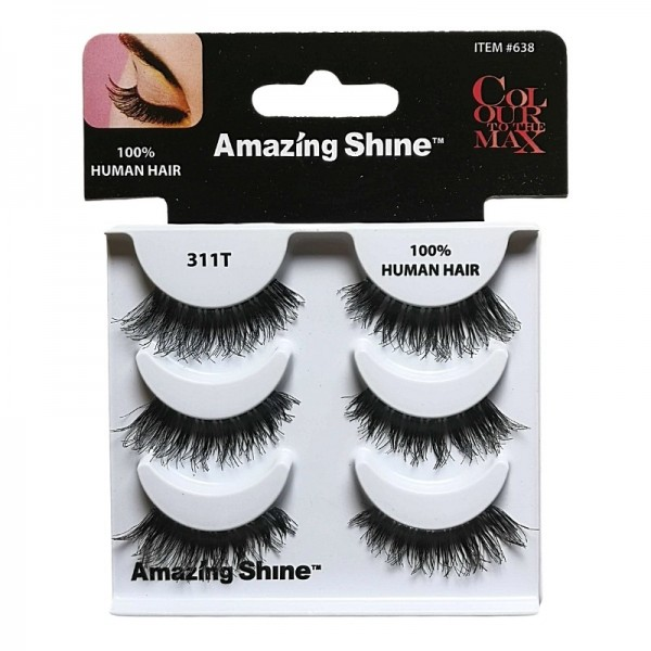 Amazing Shine - Falsche Wimpern - Colour to the Max - Nr. 311T - Echthaar - 3Pack