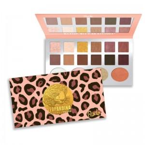 RUDE Cosmetics - Lidschatten und Highlighterpalette - 12 Eyeshadow + 4 Highlighter - Leopardina