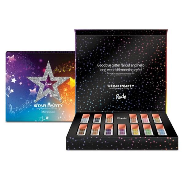 RUDE Cosmetics - Lidschatten Set - Star Party Liquid Glitter Eyeshadow - 13 Color Set