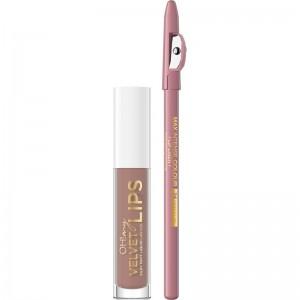 Eveline Cosmetics - Set di rossetti - Oh My Velvet Lips Matt Lip Kit - 11 Cookie Milkshake