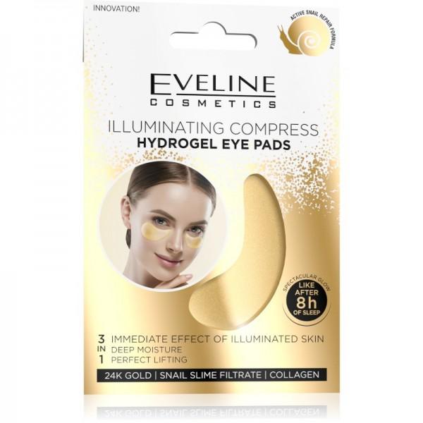 Eveline Cosmetics - Augenpads - 24K Gold Illuminating Compress Hydrogel Eye Pads - 3 in 1