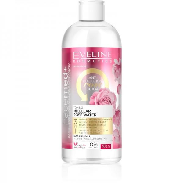 Eveline Cosmetics - Mizellenwasser - Facemed+ Toning Micellar Rose Water - 400ml