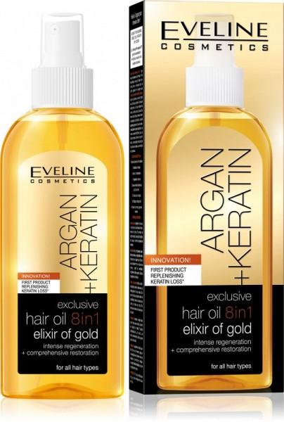 Eveline Cosmetics - Haaröl - Argan + Keratin Exclusive Hair Oil 8In1 Elixir Of Gold
