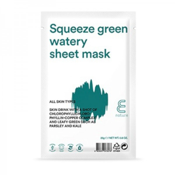 E Nature - Gesichtsmaske - Squeeze Green Watery Sheet Mask