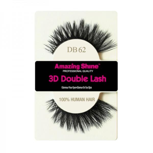 Amazing Shine - Falsche Wimpern - 3D Double Lash - DB62 - Echthaar