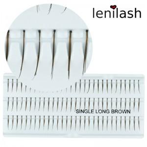 lenilash - Einzelwimpern Single long brown ca. 14mm in braun