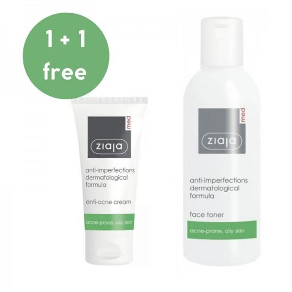 Ziaja Med - Cair Set - Antibacterial Cream + Toner