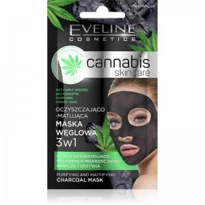 Eveline Cosmetics - Cannabis Skin Care 3In1 Charcoal Mask 7Ml