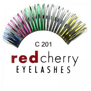 Red Cherry - Falsche Schwarz - Glitzerbunte Wimpern Nr. C201
